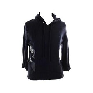 Inc International Concepts Black 3/4-Sleeve Mesh Inset Hoodie XS