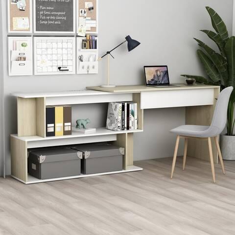 """vidaXL Corner Desk White and Sonoma Oak 47.2""""x19.7""""x29.9"""" Chipboard"""