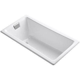 "Kohler K-850 Tea-for-Two Collection 60"" Drop In Cast Iron Soaking Bathtub with Reversible Drain (Option: Reversible)"