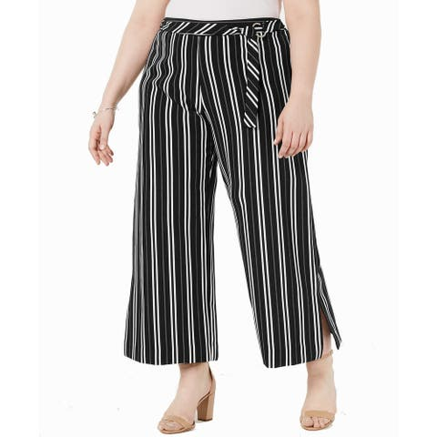 NY Collection Womens Pants Black Size 3X Plus Striped Wide-Leg Stretch