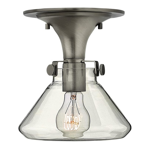 """Hinkley Lighting 3146 Single Light 8"""" Width Indoor Semi-Flush Ceiling Fixture with Clear Cone Shaped Shade from the Congress"""