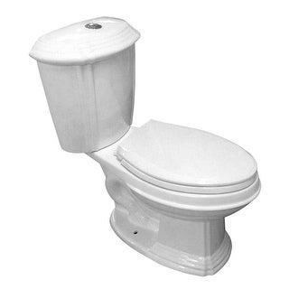 White Porcelain Elongated Push Button Dual Flush Toilet with Seat Water Saver