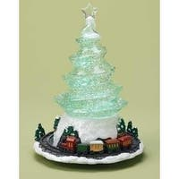 """9"""" LED Lighted Green Swirling Tree with Train Christmas Figure"""