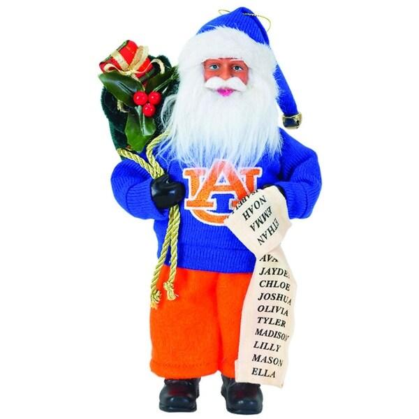 """9"""" NCAA Auburn Tigers Santa Claus with Good List Christmas Ornament"""