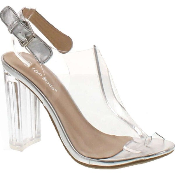 Top Moda Women's Fenton-1 Lucite Clear Strappy Block Chunky High Heel Open Peep Toe Sandal