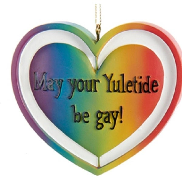 "3.25"" ""May Your Yuletide be Gay!"" Gay Pride Rainbow Heart Christmas Ornaments 3"""