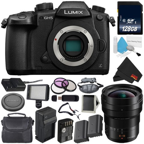 Panasonic Lumix DC-GH5 Mirrorless Micro Four Thirds Digital Camera (Body Only) + Panasonic 8-18mm f/2.8-4 Lens Bundle