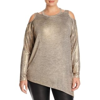 Love Scarlett Womens Plus Casual Top Gold Cold Shoulder