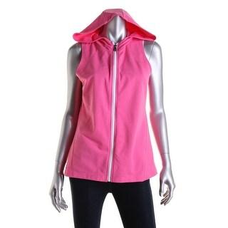 L-RL Lauren Active Womens Sleeveless Front Zip Hoodie
