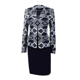 Tahari ASL Women's Jacquard Skirt Suit - Navy/Ivory