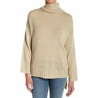 Cotton Emporium NEW Beige Womens Size Large L Mock-Neck High-Low Sweater