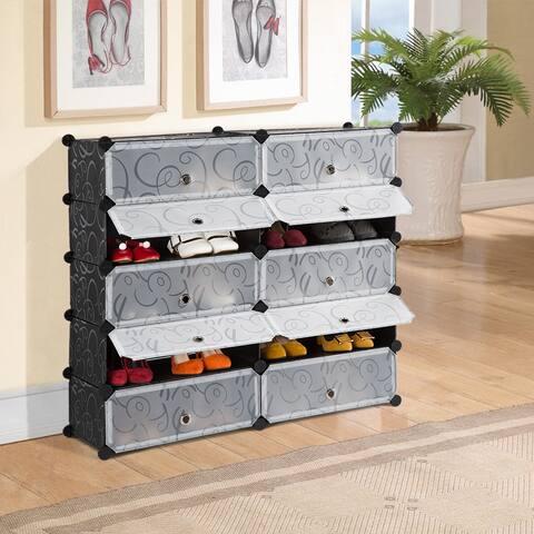 LANGRIA 10-Cube DIY Modular Shoe Rack Organizer - 5-Layer Storage Shelf