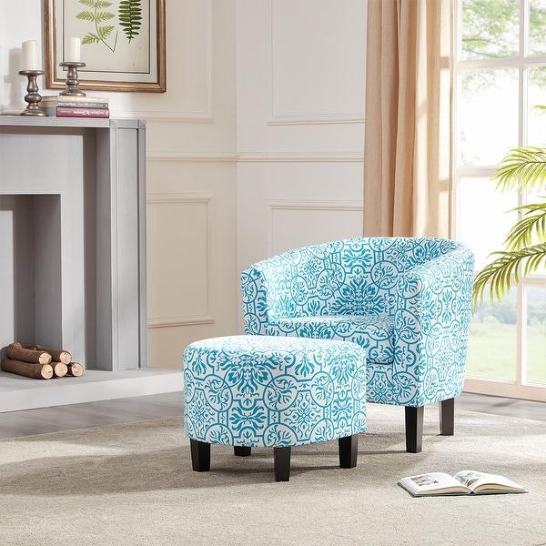 BELLEZE Floral Barrel Accent Pattern Design Chair Armrest with Footrest Ottoman Set, Blue