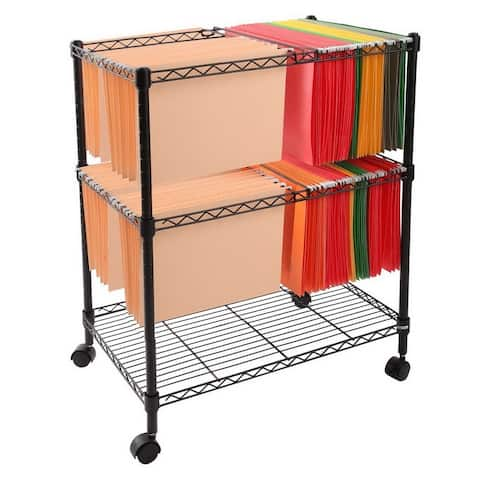 Office Two Tier Metal Rolling Mobile File Cart Letter/Legal Size