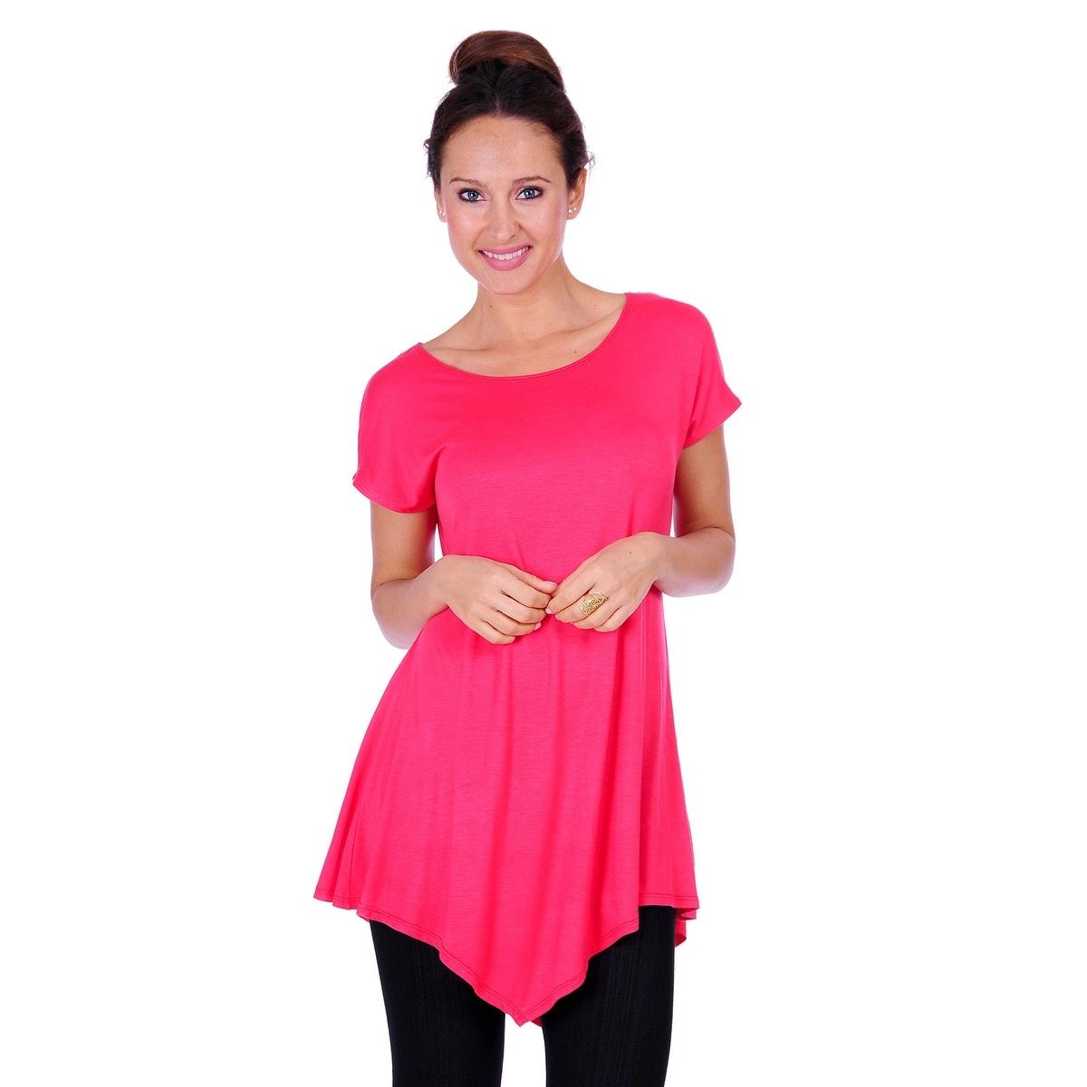 Simply Ravishing Women's Assymetrical Front/Back Handkerchief Hem Sleeveless Tunic Top - Thumbnail 14