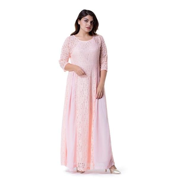 a59ec65bbbf Shop Women s Plus Size Floral Lace 3 4 Sleeve Wedding Maxi Dress ...