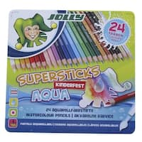 Jolly Supersticks Watercolor Pencils with Tin, Assorted Colors, Set of 24