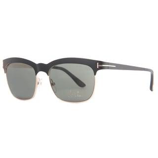 TOM FORD Square Elena TF437 Unisex 05R Matte Black/Gold Polarized Gray Sunglasses - matte black/gold - 54mm-17mm-140mm