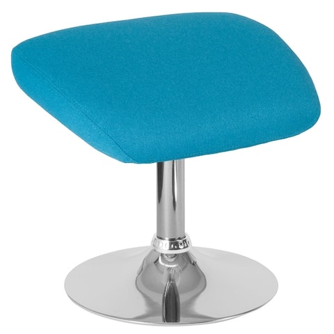 Fabric Ottoman Footrest with Chrome Base - Living Room Furniture