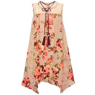Bonnie Jean Girls Tan Rose Print Lace Panel Tassel Sleeveless Dress