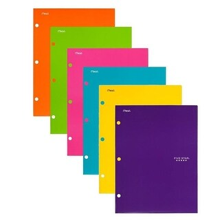 Mead Products Five Star Pocket Folders with 4-Pocket, Assorted