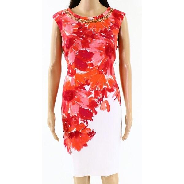 ab14ed1f92 Shop Sandra Darren Pink Women s Size 10 Floral Print Sheath Dress ...