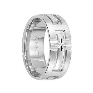 Cathedral 14k White Gold Wedding Band Engraved Cross Design Brushed Finish Flat Edges By Artcarved