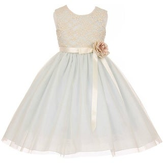 Flower Girl Dress Lace Two Tone Satin Ribbon Blue CC 1142