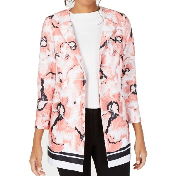 Alfani Women's Jacket Pink Size Small S Single Button Floral Scuba. Opens flyout.