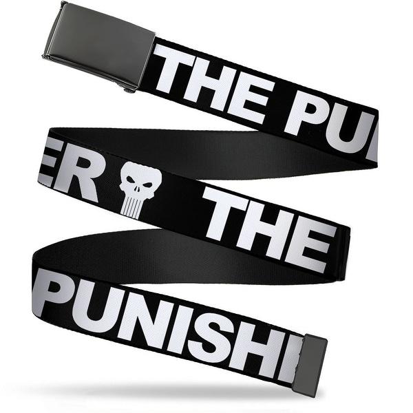 Marvel Universe Blank Black Buckle The Punisher Bold W Logo Black Web Belt