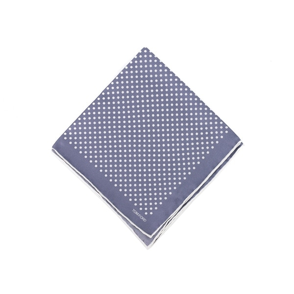 Tom Ford Mens Grey Blue Polka Dot Silk Pocket Square