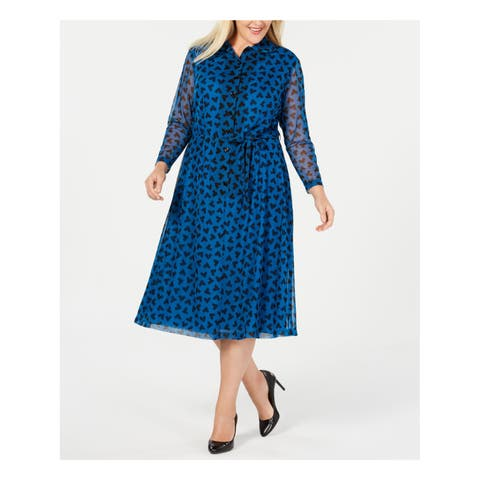 ANNE KLEIN Womens Blue Printed Long Sleeve Collared Midi A-Line Wear To Work Dress Plus Size: 14W