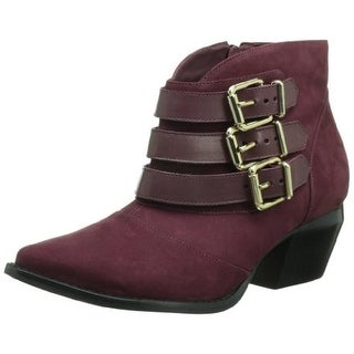 Madison Harding Womens Leather Pointed Toe Ankle Boots