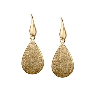 Pear-Shaped Textured Drop Earrings in 14K Gold-Plated Sterling Silver - YELLOW