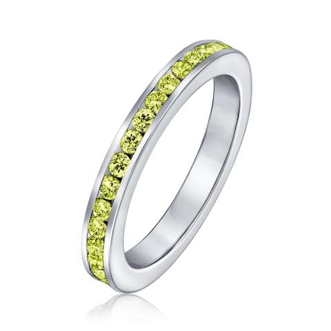 Bling Jewelry 925 Silver Yellow CZ Birthstone Eternity Ring