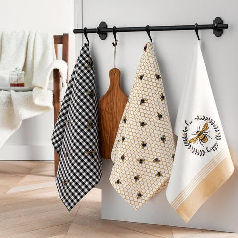 Farmhouse Living Bee Happy Kitchen Towels - Set of 3