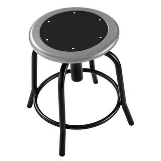 18 - 25 in. Height Adjustable Designer Stool with Black Seat &