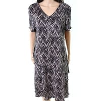 Connected Apparel Black Womens Size 10 Short Sleeve Shift Dress