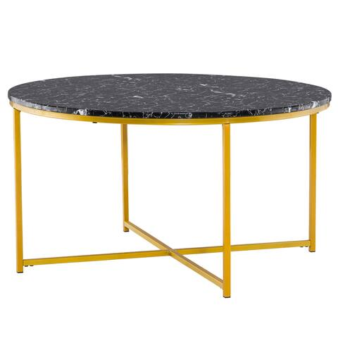[90 x 90 x 48.5]cm Marble Simple 90 Round Coffee Table Black