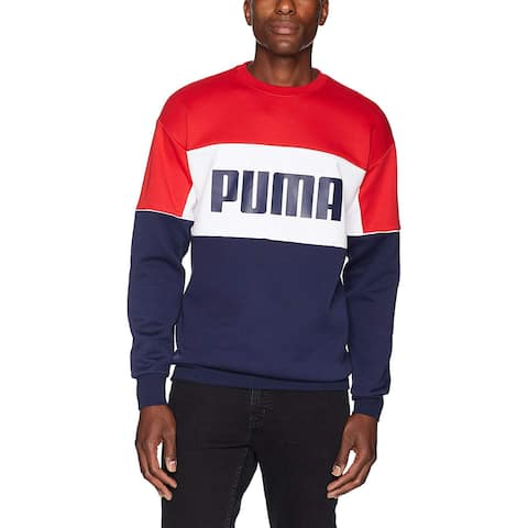 Puma Mens Sweater Blue White Red Size 2XL Crewneck Colorblocked Logo