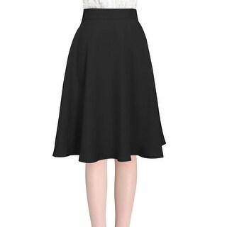 Unique Bargains Women's Knee Length Round Hem Stylish Full Skirt Black (Size L / 12)