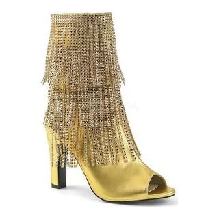 Pleaser Pink Label Women's Queen 100 Fringed Open-Toe Boot Gold Metallic Polyurethane