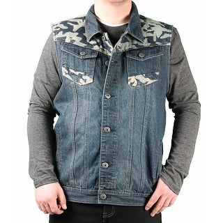 MO7 Men's Sandblasted Indigo Vest With Camo Trim