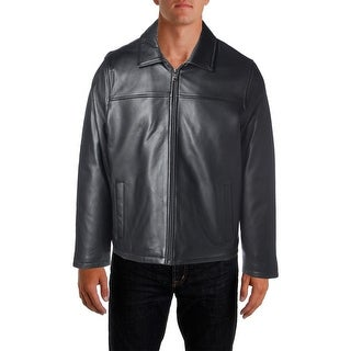 Izod Mens Bomber Jacket Leather Long Sleeves