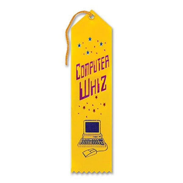 "Pack of 6 Yellow ""Computer Whiz Award"" School Award Ribbon Bookmarks 8"" - N/A"