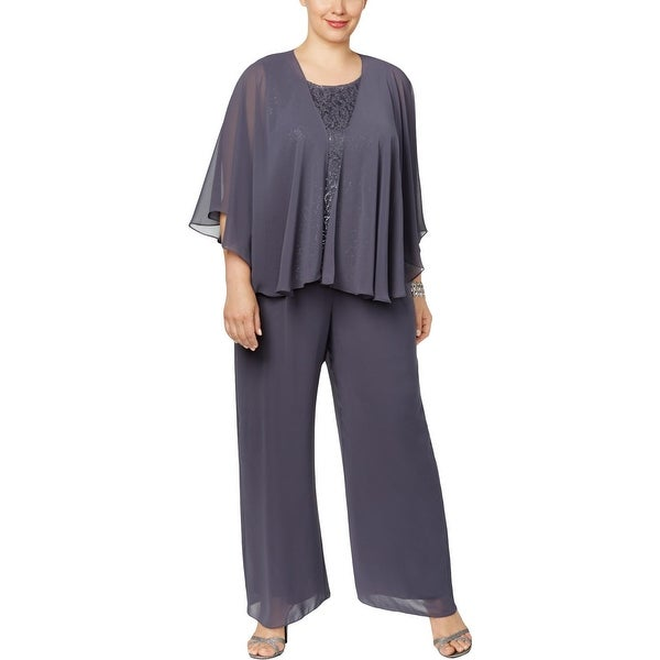 4054542b244 Shop SLNY Womens Plus Pant Suit 3 PC Lace - Free Shipping Today - Overstock  - 26043794