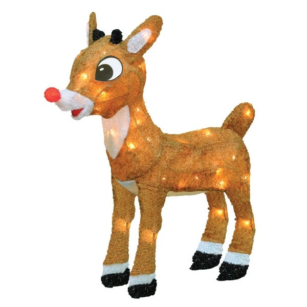 """18"""" Pre-Lit Rudolph the Red-Nosed Reindeer Outdoor Decoration - Clear Lights - brown"""