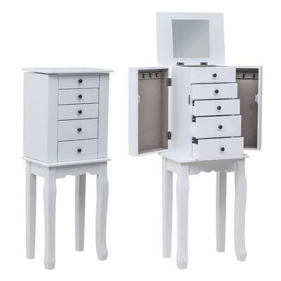 Large Jewelry Armoire Cabinet Standing Storage Chest Neckalce Organizer