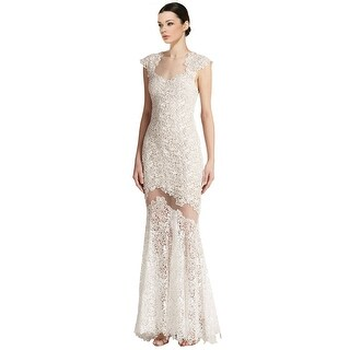 Mignon Cap Sleeve Lace Illusion Evening Gown Dress - 12