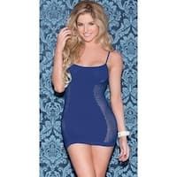 Navy Blue Seamless Net Chemise, Blue Chemise - Navy Blue - One Size Fits Most